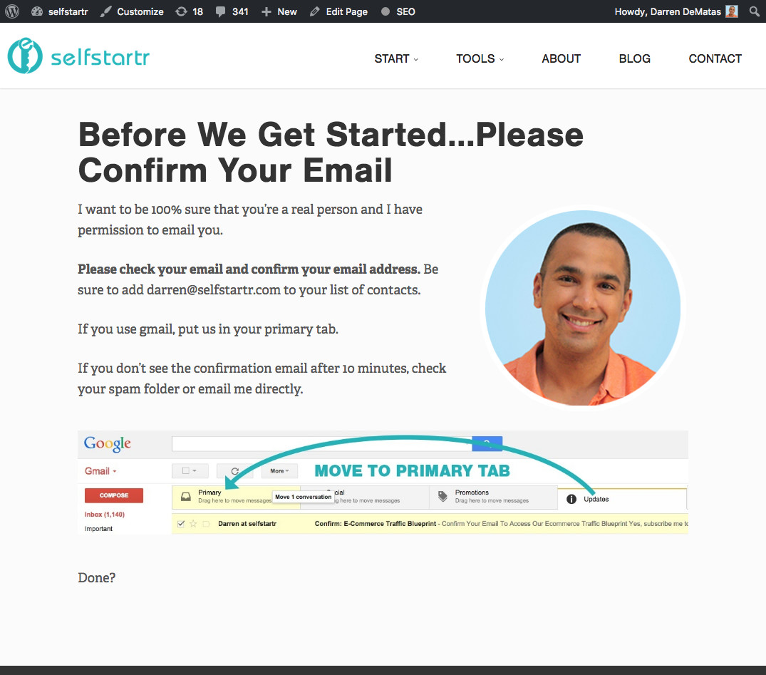 Opt-in instructions in the Selfstartr blog